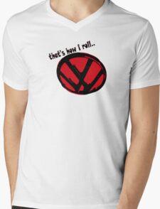VW logo - that's how i roll... black & red text Mens V-Neck T-Shirt