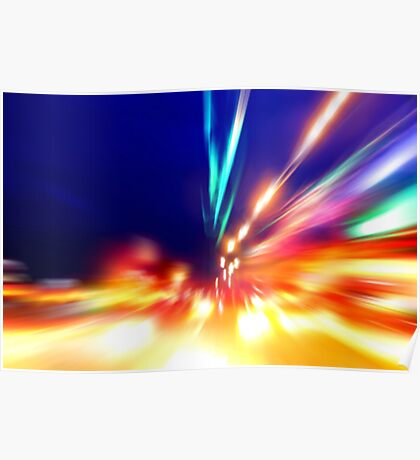 speed motion on night road Poster