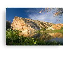 Split Mountain Reflections Canvas Print