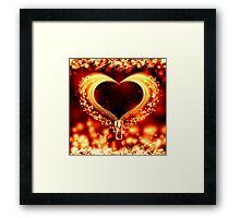 abstract valentine card golden heart Framed Print