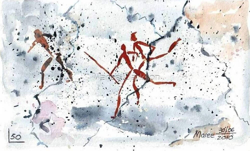 African Bushman Rock Paintings - Ethnic series by Maree Clarkson