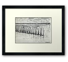 THE NORTH SEA BEACH - PEN DRAWING Framed Print