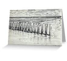 THE NORTH SEA BEACH - PEN DRAWING Greeting Card