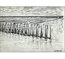 THE NORTH SEA BEACH - PEN DRAWING Photographic Print