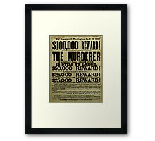 John Wilkes Booth Wanted Poster Framed Print