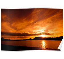 Golden Sunset over Ardingly Reservoir Poster