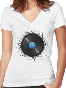 33 Vinyl Record Music Notes Women's Fitted V-Neck T-Shirt