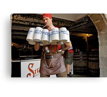 Waiter with 12 krugs of beer, Erlangen Fair, Germany Canvas Print