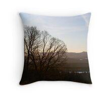 Hazy Winter Sunset Throw Pillow