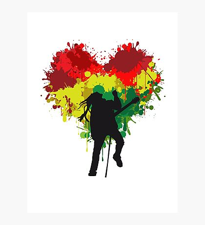 Bob Marley Dreadlock Rasta Heart Photographic Print