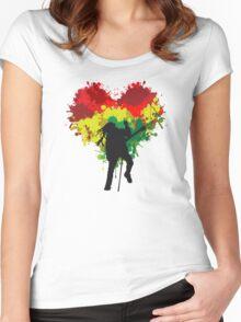 Bob Marley Dreadlock Rasta Heart Women's Fitted Scoop T-Shirt