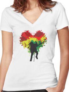 Bob Marley Dreadlock Rasta Heart Women's Fitted V-Neck T-Shirt