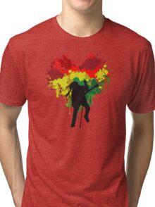 Bob Marley Dreadlock Rasta Heart Tri-blend T-Shirt