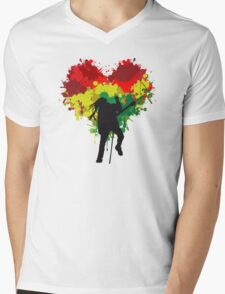 Bob Marley Dreadlock Rasta Heart Mens V-Neck T-Shirt