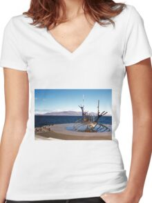 Viking ship, Reykjavik, Iceland Women's Fitted V-Neck T-Shirt