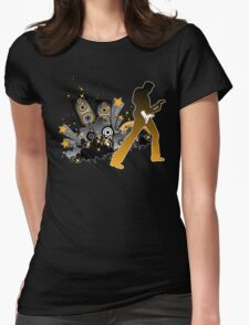 Classic Rock Guitar Player Womens Fitted T-Shirt