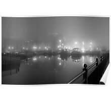 Misty Moored Houseboats Poster