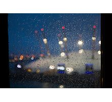 Rainy Pane, Dome Lights Photographic Print