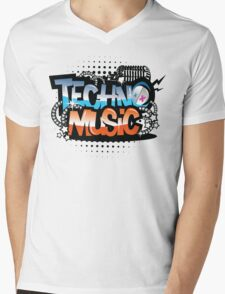 Techno Music Mens V-Neck T-Shirt