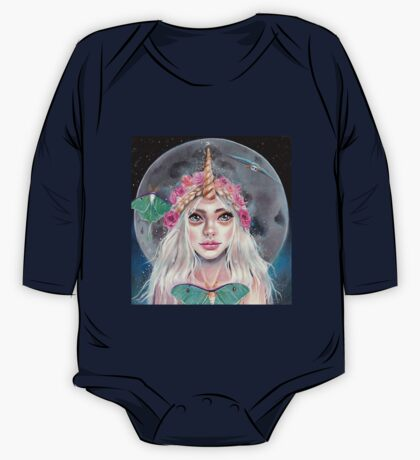 Nymeria and the Luna Moths, Unicorn Girl One Piece - Long Sleeve