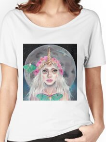 Nymeria and the Luna Moths, Unicorn Girl Women's Relaxed Fit T-Shirt