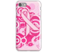 Negative Space Pink Ribbon Abstract Breast Cancer Awareness Tee iPhone Case/Skin