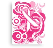 Negative Space Pink Ribbon Abstract Breast Cancer Awareness Tee Canvas Print