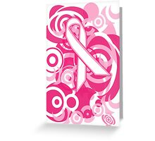 Negative Space Pink Ribbon Abstract Breast Cancer Awareness Tee Greeting Card