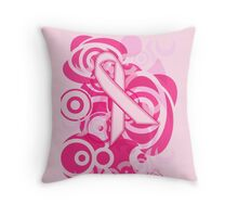 Negative Space Pink Ribbon Abstract Breast Cancer Awareness Tee Throw Pillow