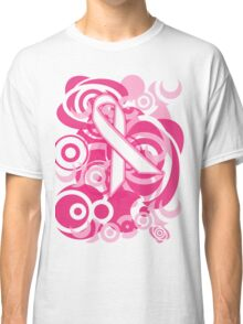 Negative Space Pink Ribbon Abstract Breast Cancer Awareness Tee Classic T-Shirt