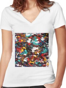 Original Psychedelic Art Women's Fitted V-Neck T-Shirt