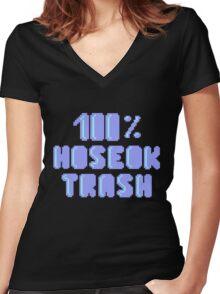 100% Hoseok trash Women's Fitted V-Neck T-Shirt