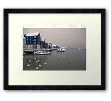 Snowy Harbour Framed Print