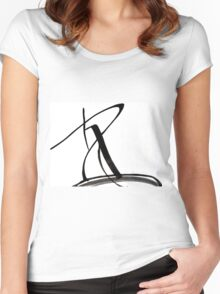 Black and White Design  Women's Fitted Scoop T-Shirt