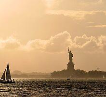 Statue of Liberty Sunset Sail by leungnyc