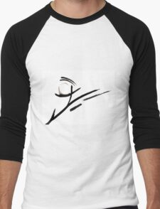 Black and White Abstract Design  Men's Baseball ¾ T-Shirt