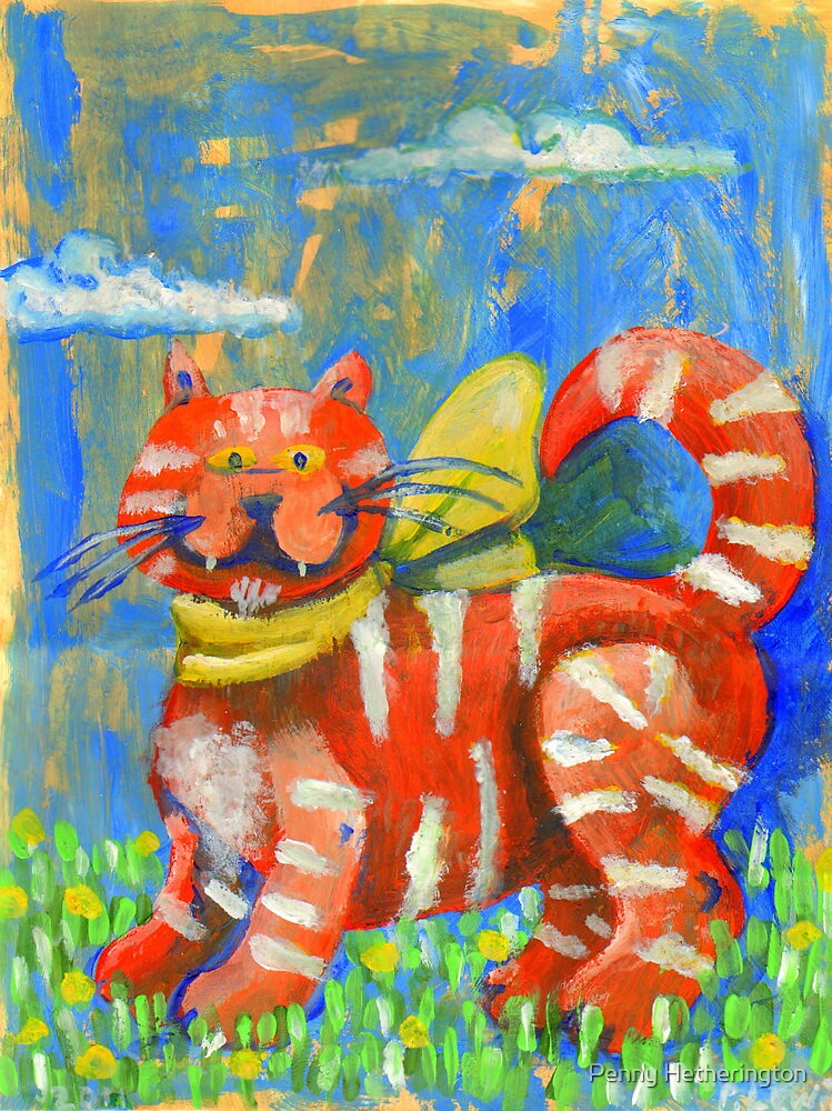 Moggy - Hand drawn on A5 paper gift bag.  by Penny Hetherington