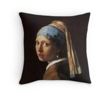 Girl with a Pearl Earring Artwork Throw Pillow