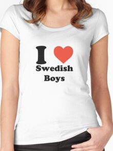 I love (heart) Swedish Boys Women's Fitted Scoop T-Shirt