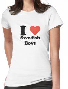 I love (heart) Swedish Boys Womens Fitted T-Shirt