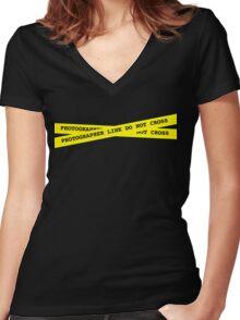 Photographer Line Do Not Cross Women's Fitted V-Neck T-Shirt