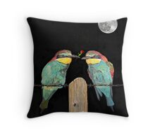 Bee eaters by moonlight Throw Pillow