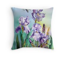 Irises and Eucalyptus Throw Pillow