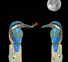 Kingfisher with rose by Eric Kempson