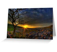 Sunset over limestone pavement, Malham Greeting Card