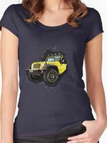 Jeep Truck Offroad Cars 3D Women's Fitted Scoop T-Shirt