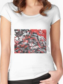Dramatic Red, Black & White Design  Women's Fitted Scoop T-Shirt
