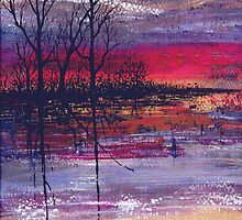 Sunset Over Flooded Fields by Val Spayne