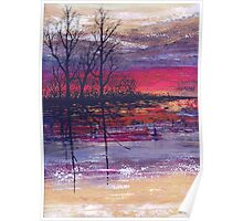 Sunset Over Flooded Fields Poster