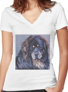 Tibetan Mastiff Fine Art Painting Women's Fitted V-Neck T-Shirt